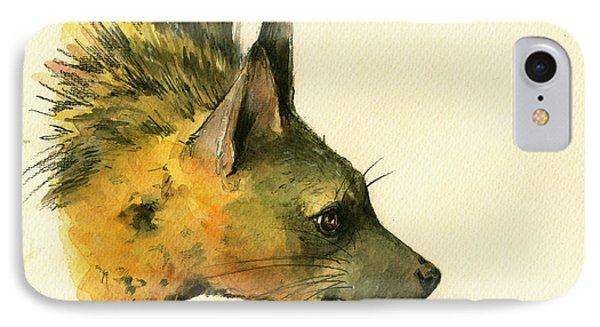 Aardwolf Hyena Animal Art IPhone Case by Juan  Bosco