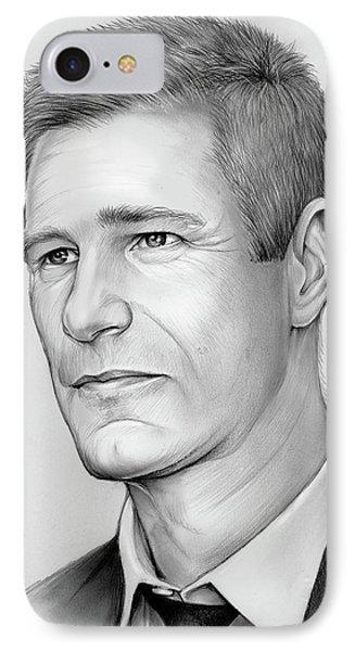 Aaron Eckhart IPhone Case by Greg Joens