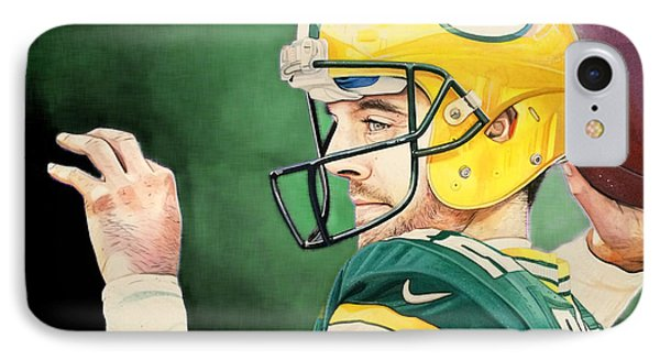 Aaron Rodgers - Green Bay Packers IPhone Case by Michael  Pattison