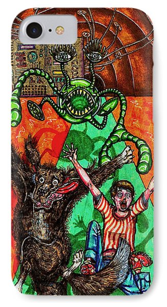 IPhone Case featuring the drawing Aarron And Spacedog Chased By An Alien by Al Goldfarb