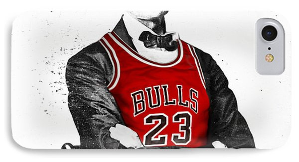 Bull iPhone 7 Case - Abe Lincoln In A Michael Jordan Chicago Bulls Jersey by Rolyo