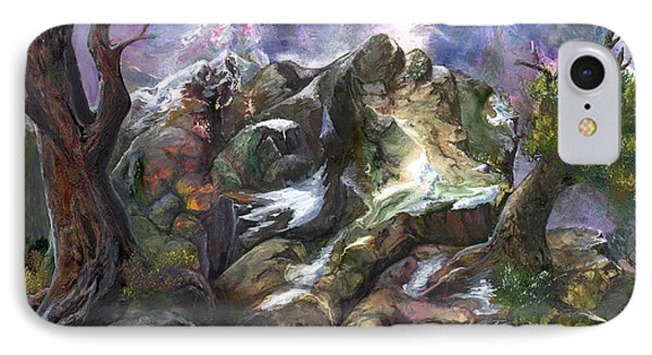 IPhone Case featuring the painting Above The Timberline by Sherry Shipley