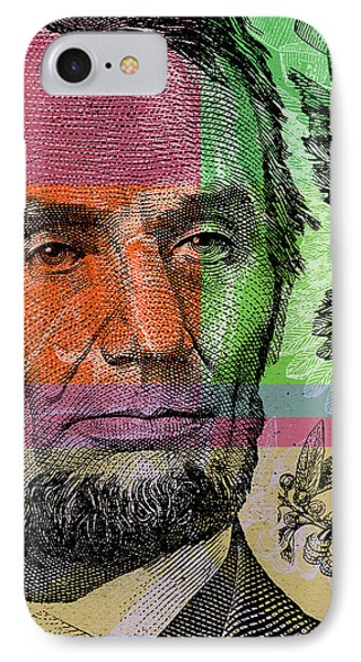 IPhone Case featuring the digital art Abraham Lincoln - $5 Bill by Jean luc Comperat