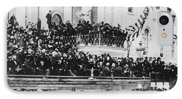 Abraham Lincoln Gives His Second Inaugural Address - March 4 1865 IPhone Case by International  Images