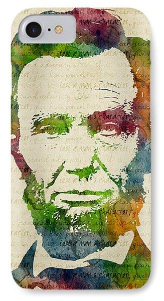 Abraham Lincoln Watercolor IPhone Case by Mihaela Pater