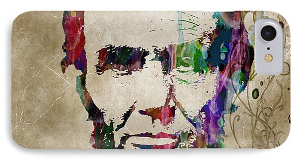 Abraham Lincoln Watercolor Modern Abstract Pop Art Color IPhone Case by Robert R Splashy Art Abstract Paintings