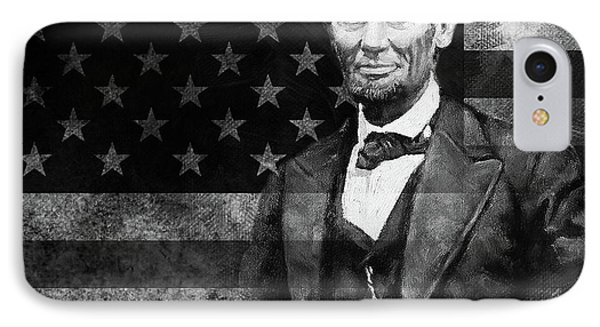 Abraham Lincoln With American Flag  IPhone Case by Gull G