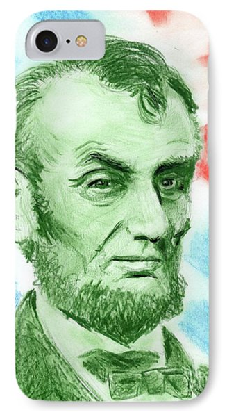 IPhone Case featuring the drawing Abraham Lincoln  by Yoshiko Mishina