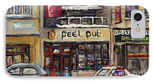 Rue Peel Montreal En Hiver Parie De Hockey De Rue Peel Pub IPhone Case by Carole Spandau