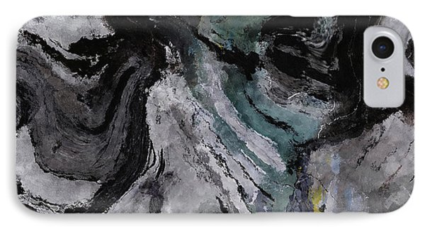 IPhone Case featuring the painting Abstract And Minimalist Acryling Painting In Gray Color by Ayse Deniz