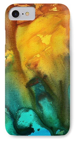 Abstract Art Colorful Turquoise Rust River Of Rust IIi By Madart Phone Case by Megan Duncanson