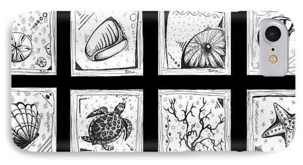 Abstract Art Contemporary Coastal Sea Shell Sketch Collection By Madart Phone Case by Megan Duncanson