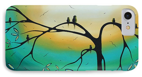 Abstract Art Landscape Bird Painting Family Perch By Madart Phone Case by Megan Duncanson
