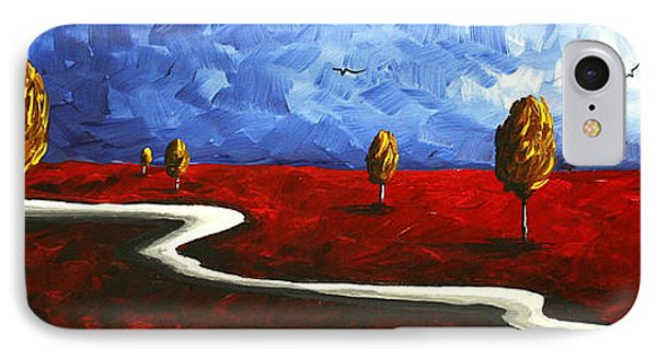 Abstract Art Original Landscape Painting Winding Road By Madart Phone Case by Megan Duncanson