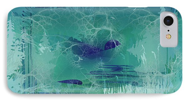 IPhone Case featuring the digital art Abstract Blue Green by Robert G Kernodle