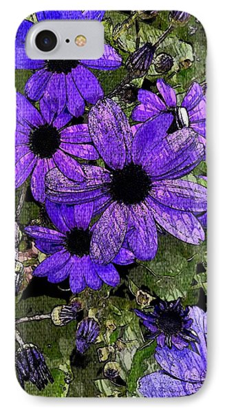 Abstract Blue Pericallis IPhone Case by Mina Thompson