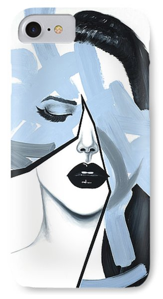 Abstract Blue Woman Portrait IPhone Case by Atelier B Art Studio