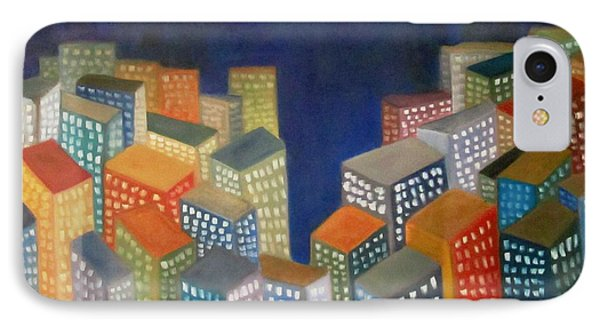 IPhone Case featuring the painting Abstract Cityscape Series by Patricia Cleasby