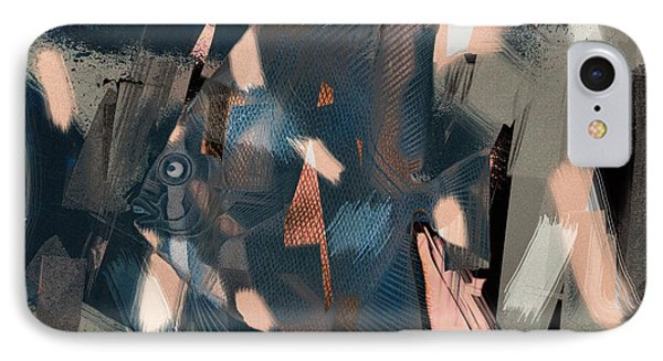 IPhone Case featuring the digital art Abstract Cube Fish With Overbite by Nola Lee Kelsey