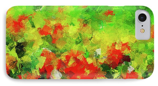 Abstract Floral Painting - Red And Green IPhone Case by Ayse Deniz