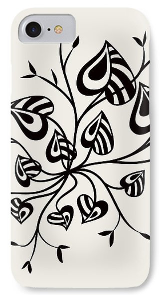 Abstract Floral With Pointy Leaves In Black And White IPhone Case