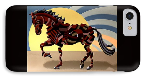 IPhone Case featuring the painting Abstract Geometric Futurist Horse by Mark Webster