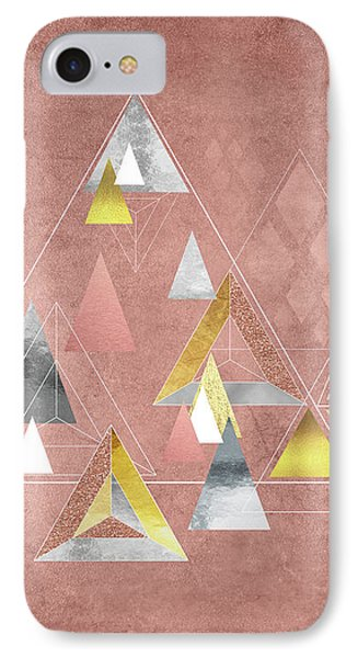 Abstract Geometric Triangles, Gold, Silver Rose Gold IPhone Case by Tina Lavoie