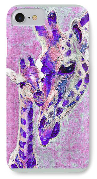 IPhone Case featuring the digital art Abstract Giraffes2 by Jane Schnetlage