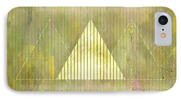 Abstract Green And Gold Triangles IPhone Case by Brandi Fitzgerald