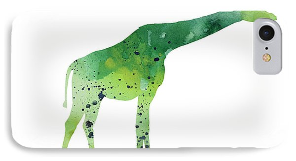 Abstract Green Giraffe Minimalist Painting IPhone Case by Joanna Szmerdt