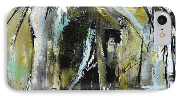 IPhone Case featuring the painting Abstract Green Horse by Cher Devereaux