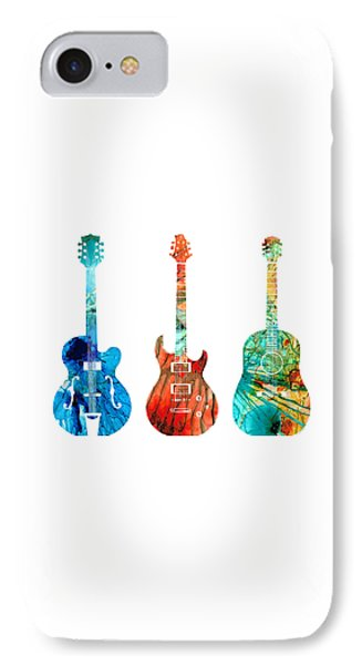 Music iPhone 7 Case - Abstract Guitars By Sharon Cummings by Sharon Cummings