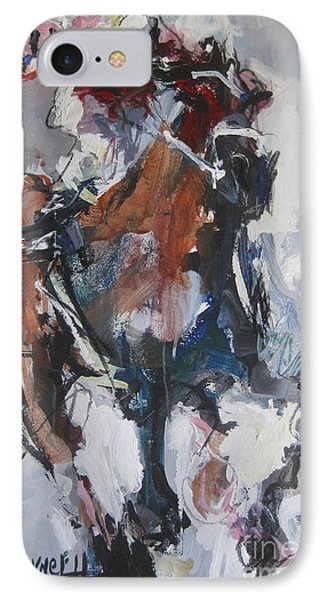 IPhone Case featuring the painting Abstract Horse Racing Painting by Robert Joyner