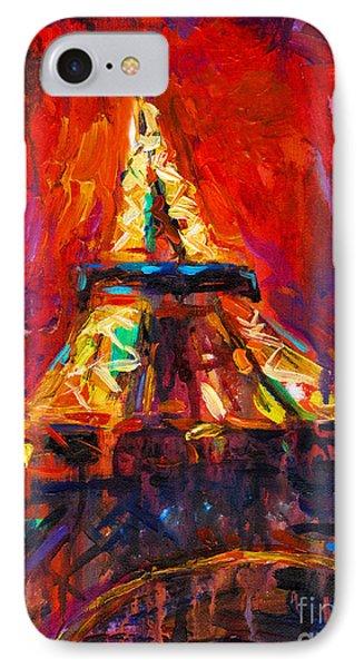 Abstract Impressionistic Eiffel Tower Painting IPhone Case by Svetlana Novikova
