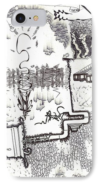 Abstract In Pen And Ink 1 IPhone Case by Makarand Joshi