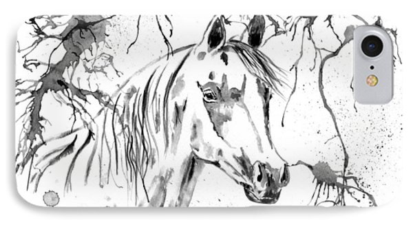 Abstract Ink - Black And White Arabian Horse IPhone Case by Michelle Wrighton