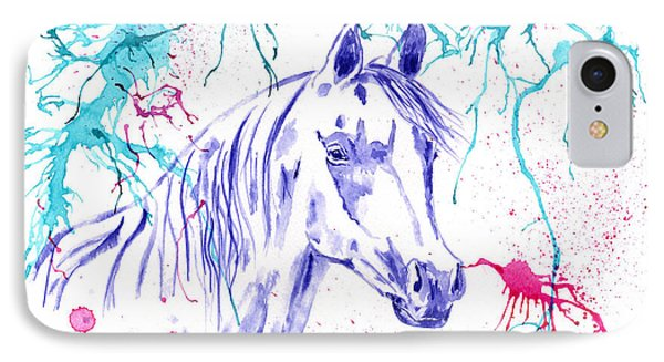 Abstract Ink - Purple Arabian Horse IPhone Case by Michelle Wrighton