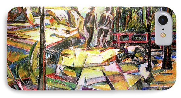 Abstract Landscape With People IPhone Case by Stan Esson