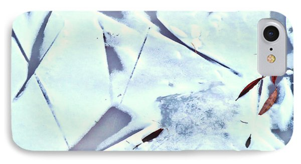 IPhone Case featuring the photograph Abstract Leaf Patterns In Snow by Kae Cheatham