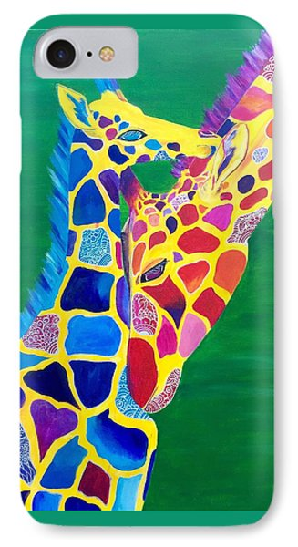 Abstract Mehndi Giraffe Mom And Baby IPhone Case