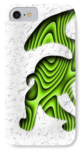 Abstract Monster Cut-out Series - Green Stroll IPhone Case by Uncle J's Monsters
