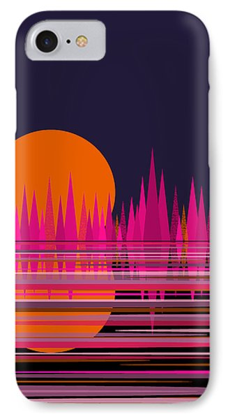 Abstract Moon Rise In Pink IPhone Case by Val Arie