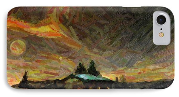 Abstract Nordic Winter Scene  IPhone Case by Celestial Images