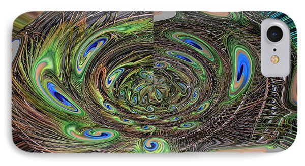 Abstract Of Peacock Feathers IIi IPhone Case by Jim Fitzpatrick
