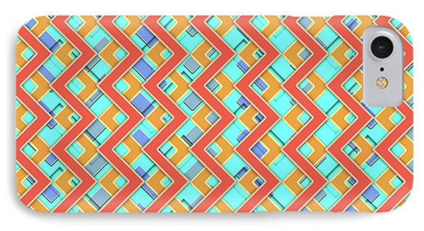Abstract Orange, Cyan And Red Pattern For Home Decoration IPhone Case