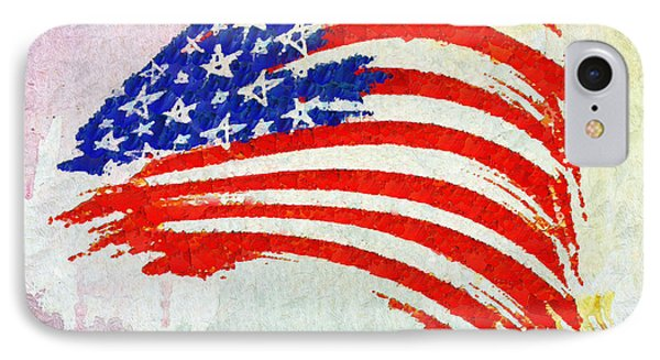 Abstract Painted American Flag IPhone Case by Stefano Senise