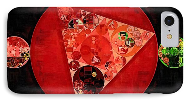 Abstract Painting - Mordant Red Round IPhone Case by Vitaliy Gladkiy