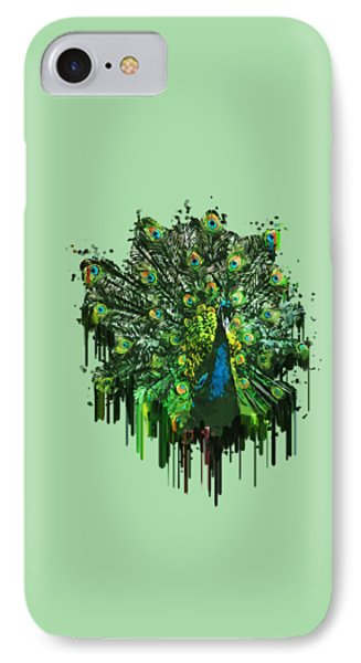 Abstract Peacock Acrylic Digital Painting IPhone Case by Georgeta Blanaru