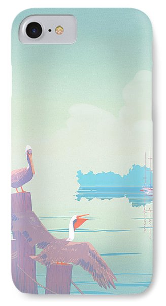 Abstract Pelicans Tropical Florida Seascape Sailboats Large Pop Art Nouveau 1980s Stylized Painting Phone Case by Walt Curlee