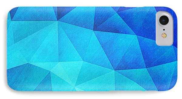 Abstract Polygon Multi Color Cubizm Painting In Ice Blue IPhone Case by Philipp Rietz